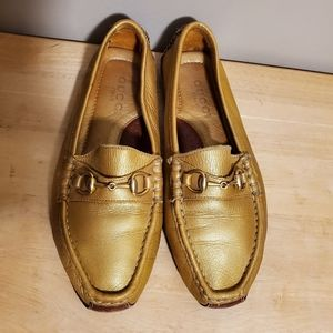 Gucci vintage gold Horsebit Drivers Loafers